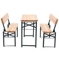 Stylé Meubles de jardin serie N'Djaména Table avec 2 bancs 118 cm Bois de  sapin Pliable