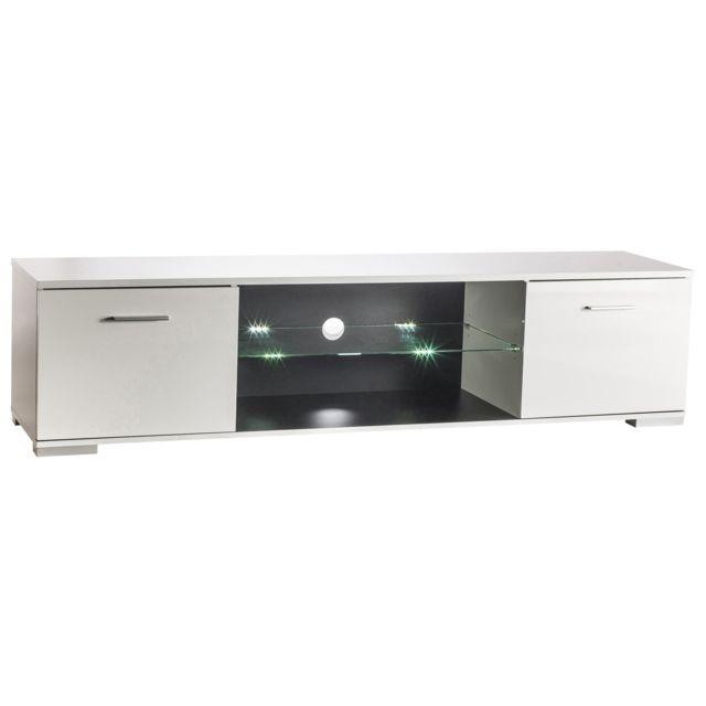HABITAT ET JARDIN Meuble TV Icy - 179,3 x 42 x 43 cm - Blanc perle