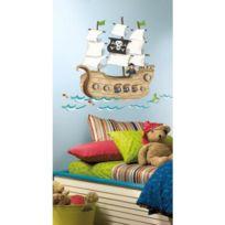 Mon Beau Tapis - Stickers Géant Bateau Pirate Roommates Repositionnables 93x110cm - 18 stickers