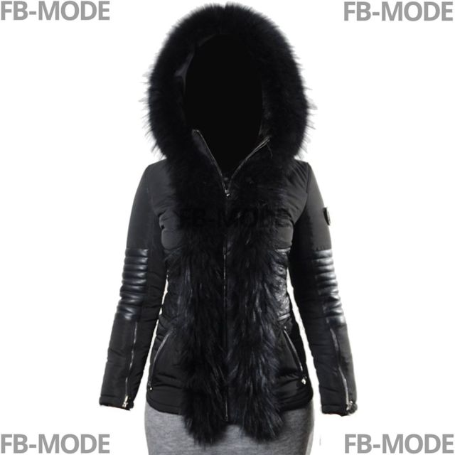 5bf6d7a420 Ventiuno - Gia Ventiuno doudoune femme bi-matière cuir d'agneau et fourrure  noirdoudoune