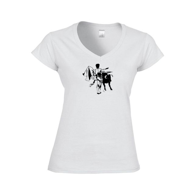 33f9010d57d17 Mygoodprice - T-shirt Femme col V toréador 2 S Blanc - pas cher ...