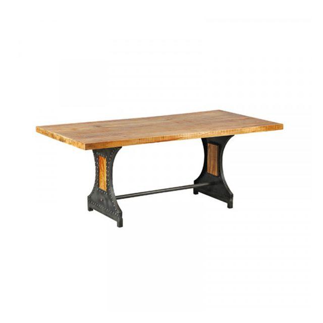 Dansmamaison Table de repas Rectangulaire Acier/Bois - Verden - L 200 x l 100 x H 80 cm