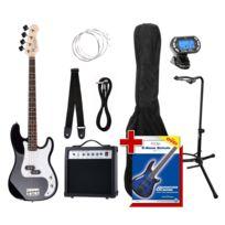 Rocktile - Groover Paquet Pb Basse Électrique Set Sunburst + Accordeur à Clipser + Stands de Guitare