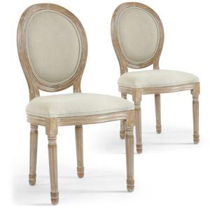 COTE COSY - Lot de 2 chaises Design KAJOL De Style Médaillon Tissu Beige Crème