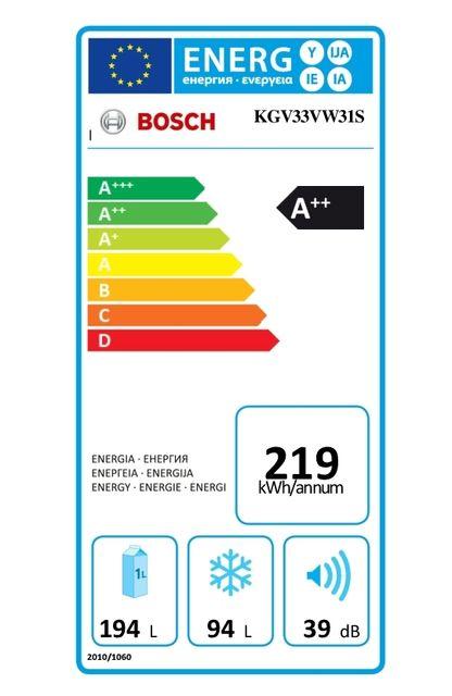 Bosch - Réfrigérateur congélateur combiné KGV33VW31S