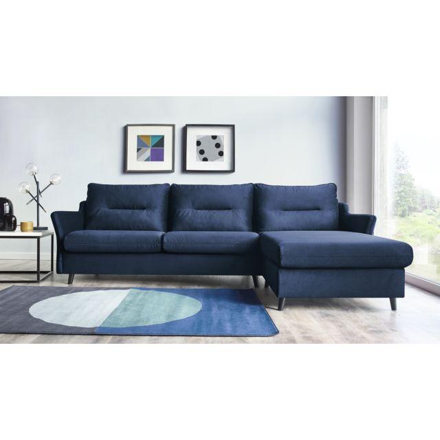 Canapé convertible d\'angle droit Loft - Bleu marine