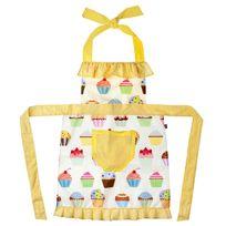 Vigar - Tablier de cuisine imperméable polyester/coton motif cupcakes jaune/blanc 80x75cm Housewife