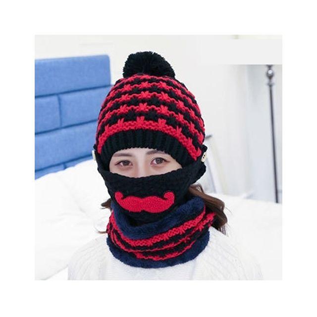 Wewoo - Bonnet noir Hiver Barbe Motif Masque Visage Protection + Écharpe +  Bonnets, Mesdames 29943b38163
