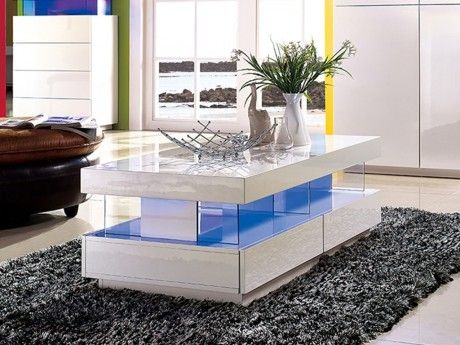 Unique 2 Blanc Laqué Mdf Leds Fabio Basse Vente Table kX8PONn0w