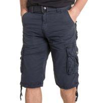 8df798cb08 BLZ Jeans - Bermuda long homme bleu marine coton avec ceinture et poches  cargo
