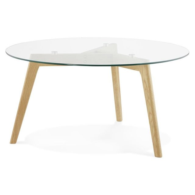 Alterego Table basse de salon ronde 'GLAZY' en verre