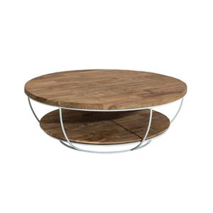 Table basse coque blanche double plateau 100x100 cm - Table basse 100x100 ...