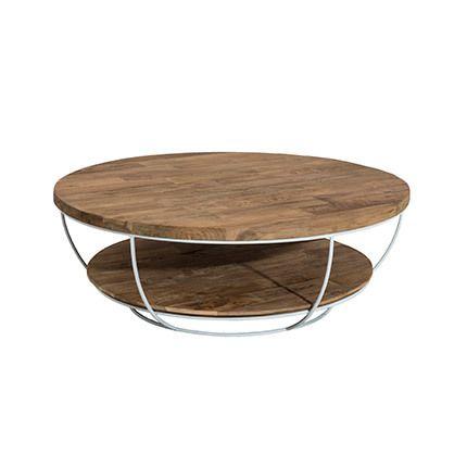 Table basse coque blanche double plateau 100x100 cm Appoline - teck foncé
