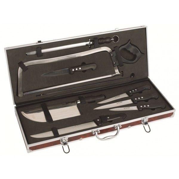 Aunain Malette boucherie 9 couteaux et accessoires Au Nain 3 rivets