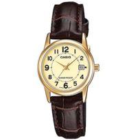 Casio - Ltpv002gl-9b Montre Femme Bracelet cuir.Cadran dateur.Verre minéral.Garantie 2 ans