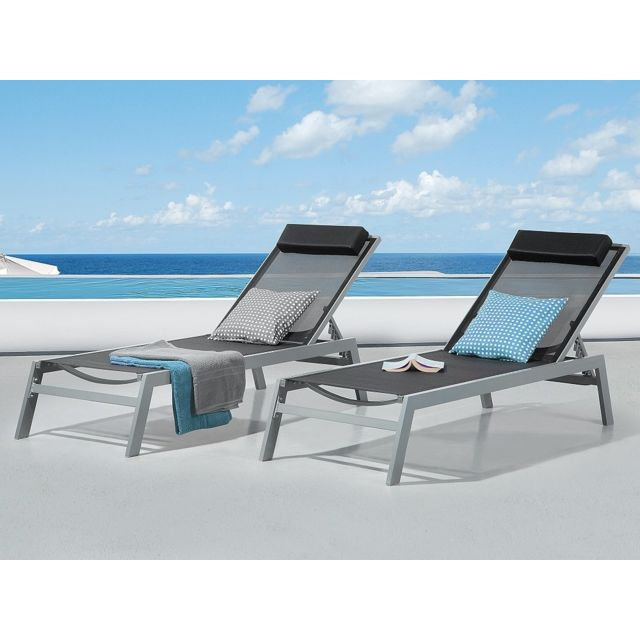 Beliani Transat de jardin - Chaise longue inclinable - aluminium noir - Catania Ii