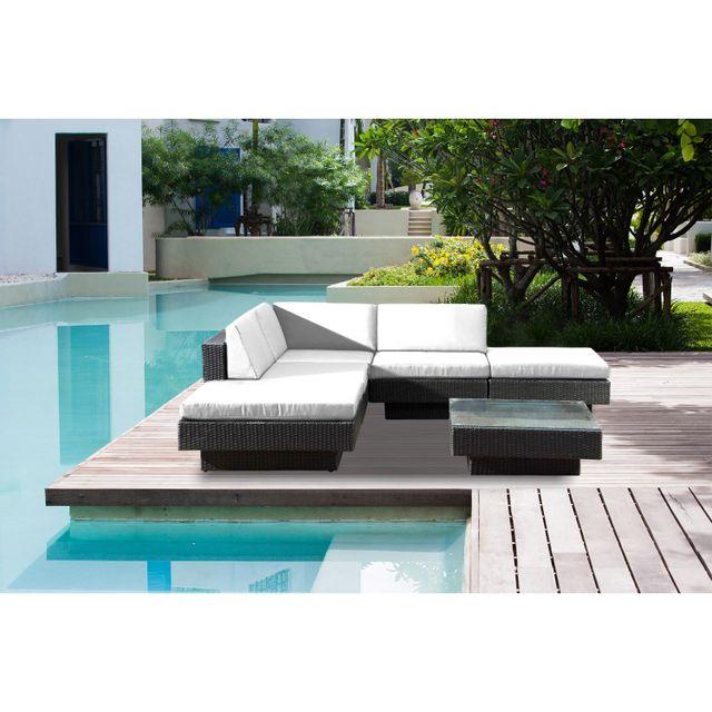 CONCEPT USINE Amorgos blanc : salon de jardin d'angle en résine 4 fils tressée noire poly rotin
