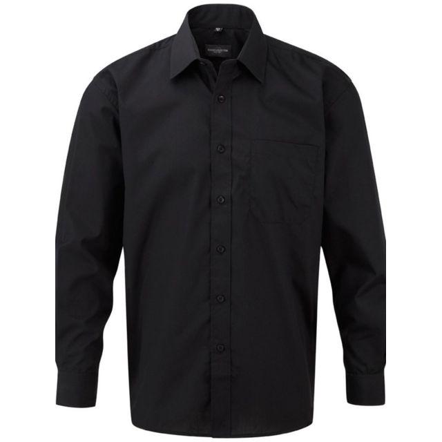 Fashion Cuir Chemise popeline poche poitrine Couleur - noir, Taille Homme - Xxl