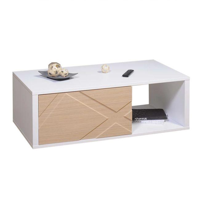 Kasalinea Table de salon blanc et couleur chêne moderne Link