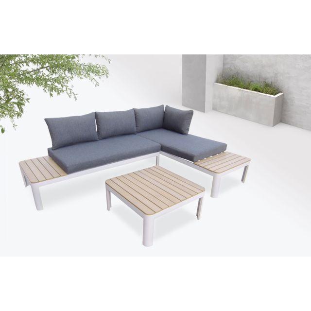Ibiza - Salon de jardin en angle - 4 places - Aluminium / Composite Couleur  - Blanc / Gris