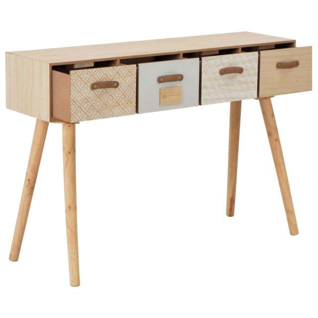 Icaverne - Buffets & bahuts ensemble Table console avec 4 tiroirs 110 x 30 x 75 cm Bois de pin massif