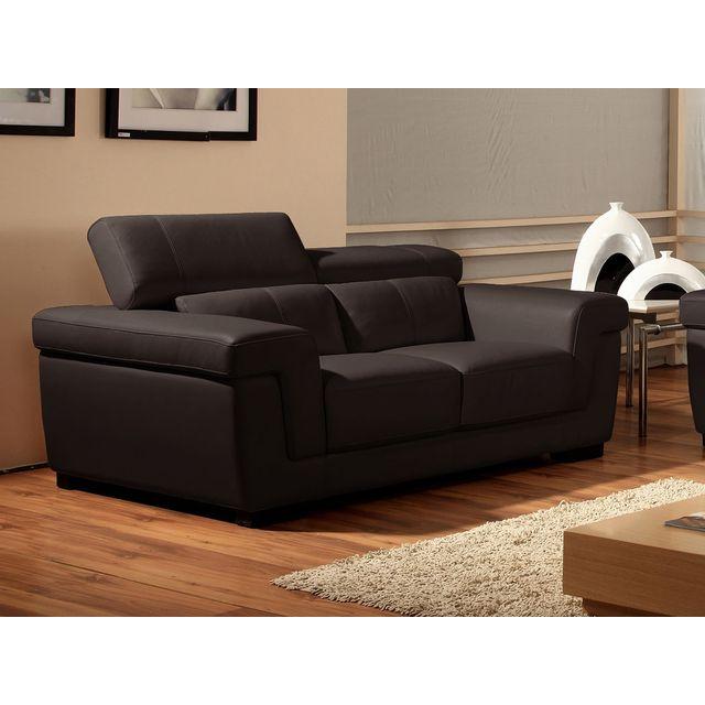 la maison du canap canap cuir 2 places evasion cuir sup rieur marron achat vente. Black Bedroom Furniture Sets. Home Design Ideas