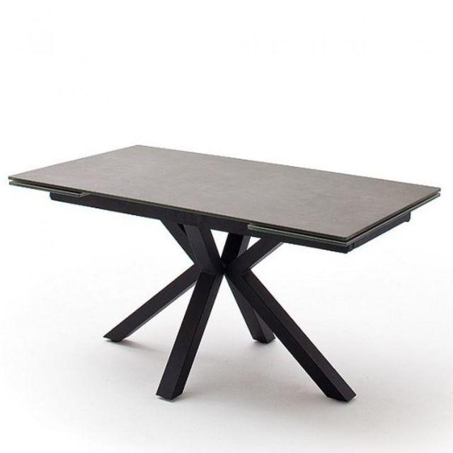Inside 75 Table repas extensible Noda 160 x 90 cm plateau céramique anthracite pied acier laqué anthracite