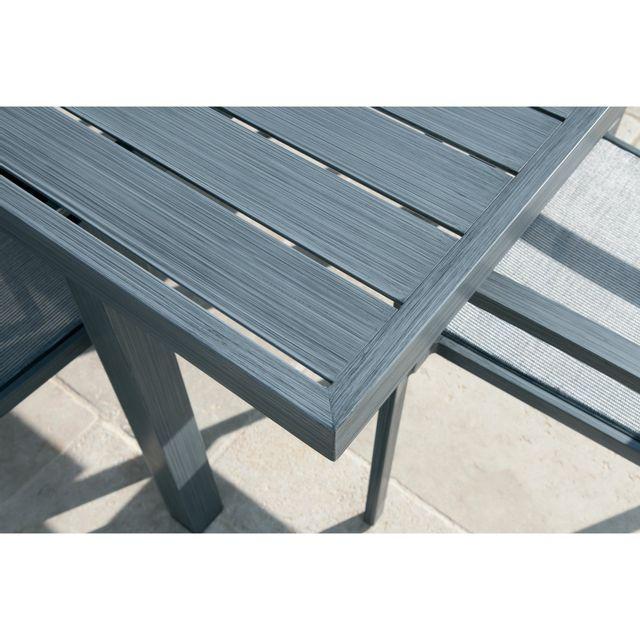 Alinéa - Boston Jardin Salon de jardin gris en aluminium 8 ...