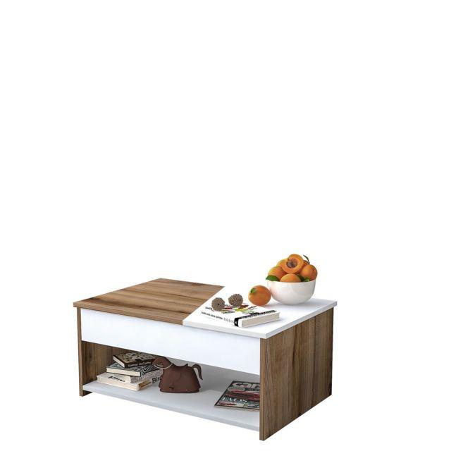 Homemania Table basse Gold - L. 90 x H. 40 cm - Marron