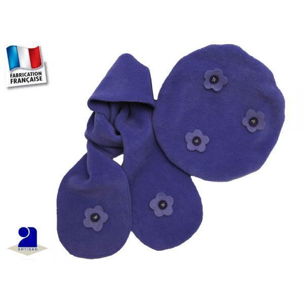 Poussin Bleu - Béret-Echarpe polaire 1-6 mois, Mauve Couleur - Violet d903c34a519