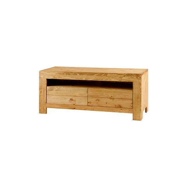 Meuble télé 2 tiroirs + 1 niche en pin massif - Colro