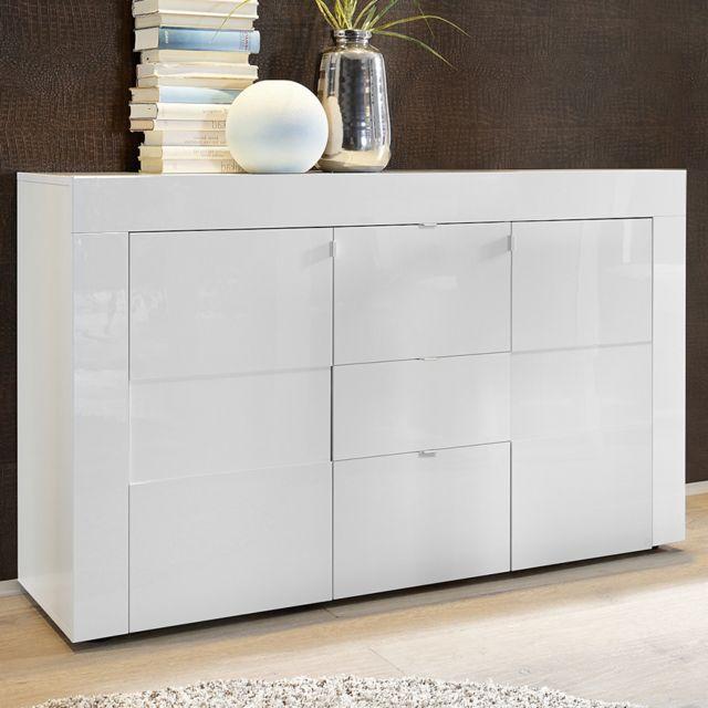 Kasalinea - Bahut blanc laqué brillant design Newland 3 - pas cher ...
