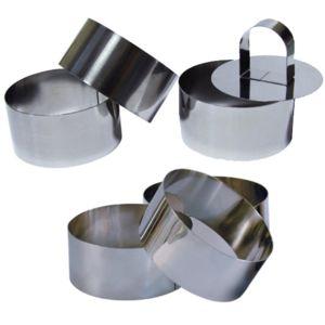 Touslescadeaux - 6 Cercles de présentation Inox avec 1 poussoir - 8 cm Ronde