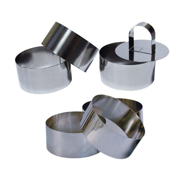 Touslescadeaux - 6 Cercles de présentation Inox avec 1 poussoir - 8 cm