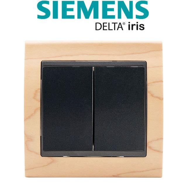 Siemens - Double Poussoir Anthracite Delta Iris + Plaque Bois Hetre