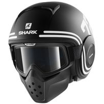 Shark - casque jet moto scooter Raw 72 noir blanc mat Promo M