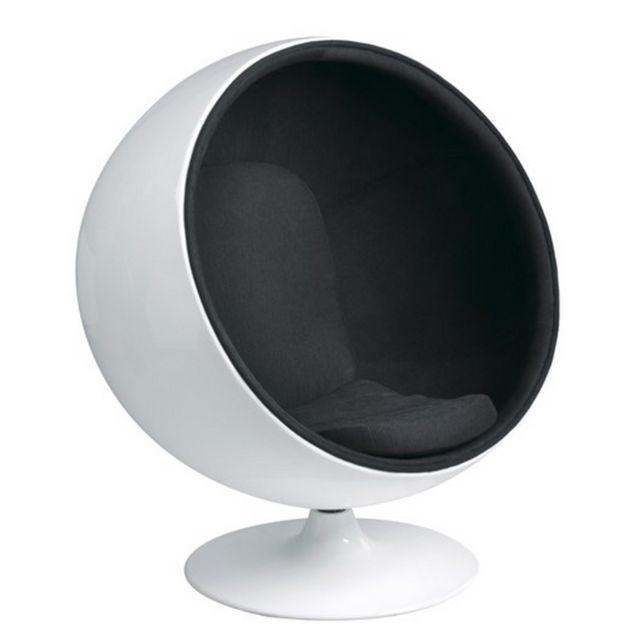 Oneboutic Fauteuil design blanc noir - Boule