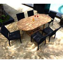 Wood-en-Stock - ensemble de jardin table teck 120-180 cm et 6 chaises en résine tressée