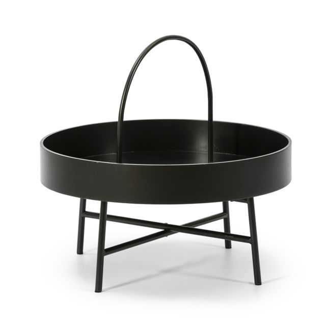 Vs Venta-stock Table Basse Table auxilaire Ronde Manila avec Plateau en Mdf Noir et Structure métallique en Couleur Noir Mat/DIAMÈTRE: