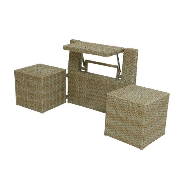 JARDIDECO Ensemble de balcon table et pouf ou banc Naturel Java