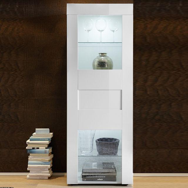 Sofamobili Vitrine blanc laqué brillant design Okland