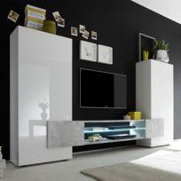 vente chaude en ligne 1cd43 3ebdb Ensemble meubles Tv blanc laqué brillant et béton Argos