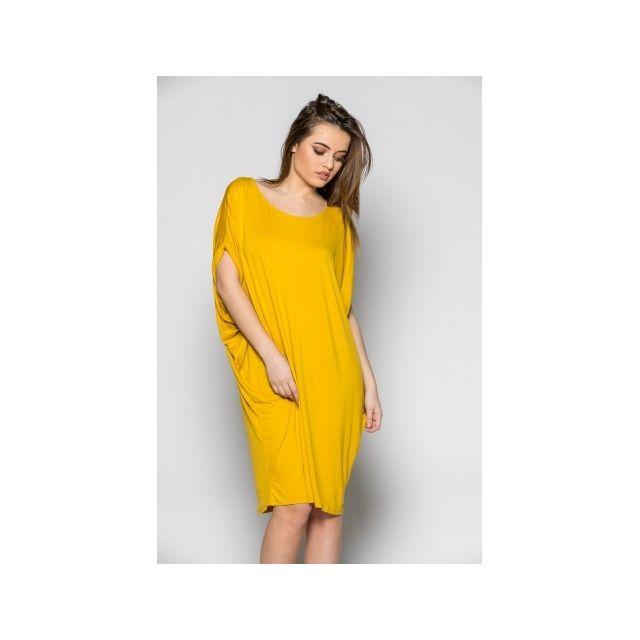 4705b4acdb6ee Princesse Boutique - Robe fluide Moutarde ample dos nu - pas cher Achat   Vente  Robes - RueDuCommerce