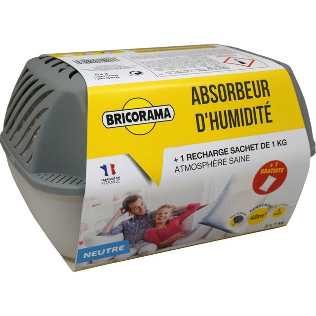 Bricorama Absorbeur d'humidité large + 1 recharge sachet de 1 kg neutre 100382022