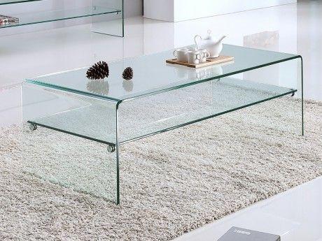 Table Basse Stileos Double Plateau Verre Trempe