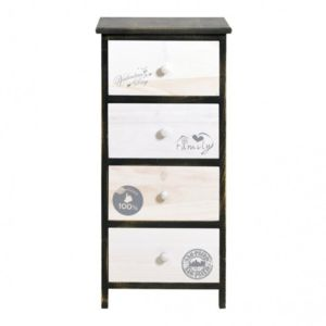 mobili rebecca chiffonnier chevet 4 tiroirs family bois blanc gris vintage shabby salle de. Black Bedroom Furniture Sets. Home Design Ideas