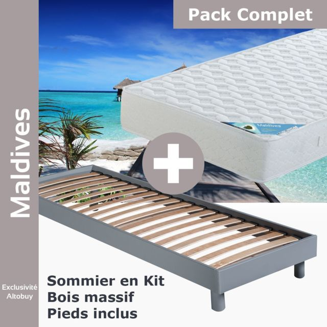 Altobuy Maldives Pack Matelas Neokit Gris 90x190 Pas Cher