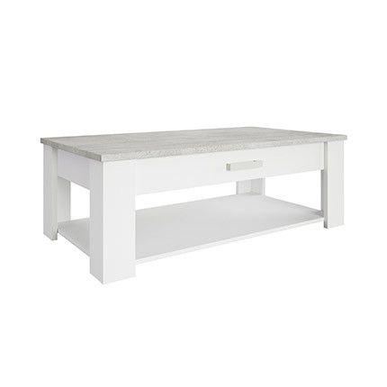 Table basse 120x64cm en décor béton et blanc