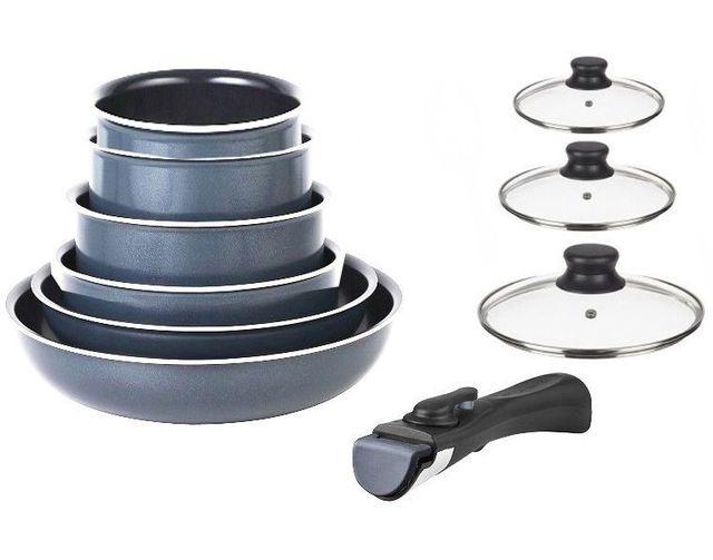 marc veyrat batterie de cuisine 10 pi ces grise avec couvercles induction poign e amovible. Black Bedroom Furniture Sets. Home Design Ideas
