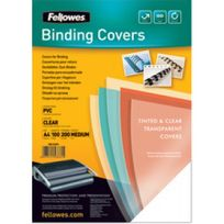 Fellowes - Couverture plastique à relier - A4 - 0,20 mm - 100 feuilles - transparent